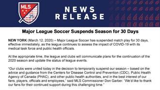疫情嚴重 美職足MLS停賽1個月