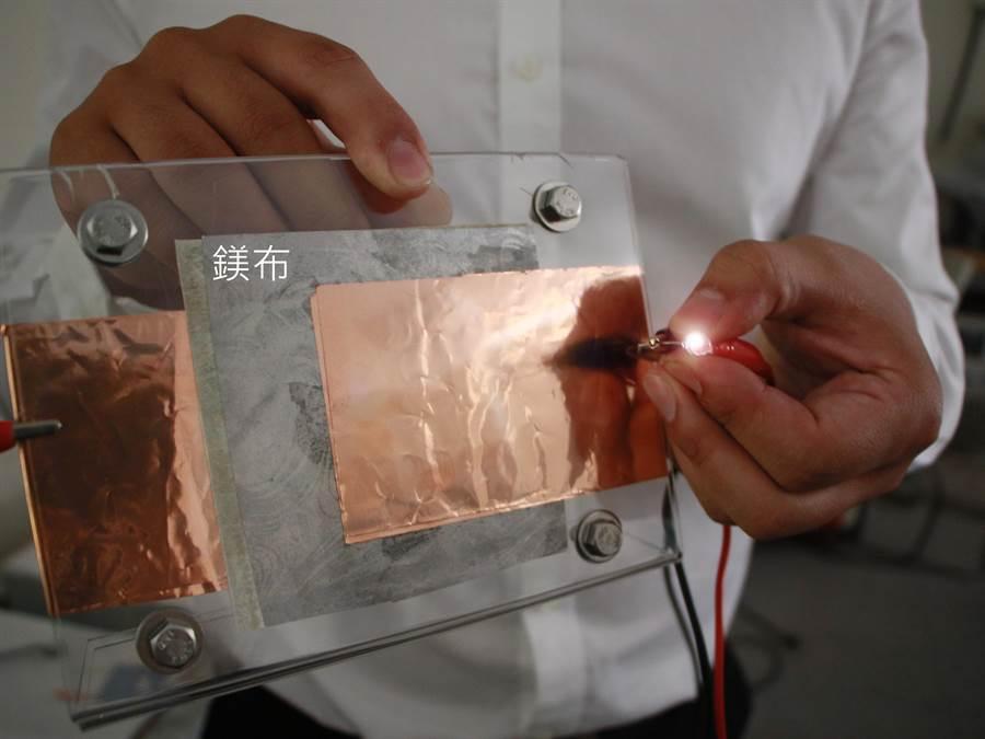 1元硬幣大小的鎂布電池,可讓LED燈泡持續發亮超過36小時,既是布料更是電池。(成功大學提供/曹婷婷台南傳真)