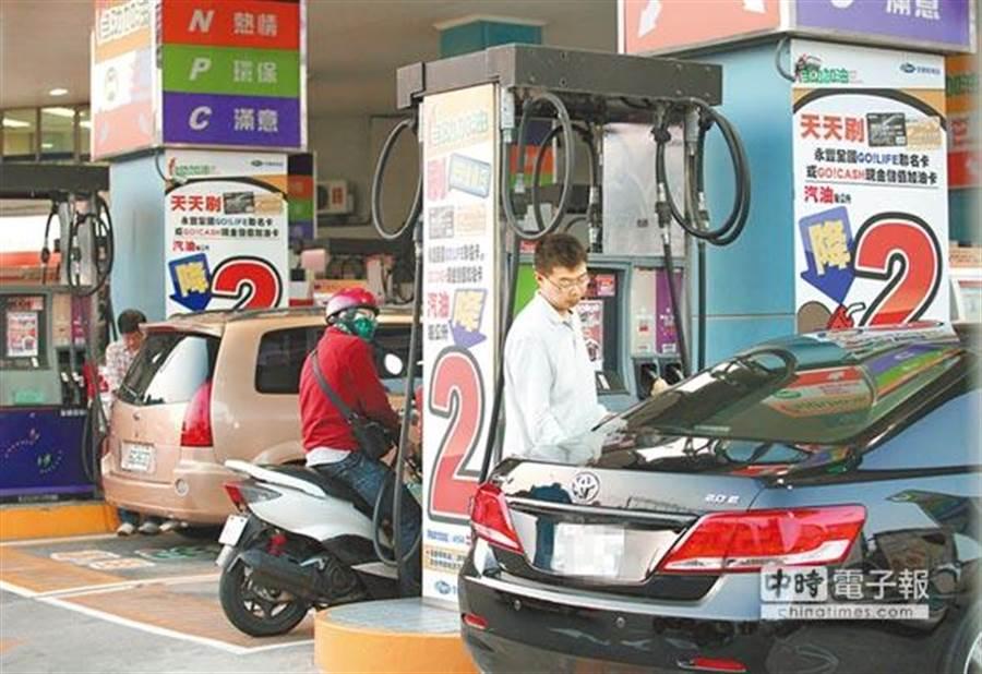 國際原油跌勢不變,下周汽油每公升仍估計大降3.8元,加油站牌價將創4年新低。(圖:資料照)