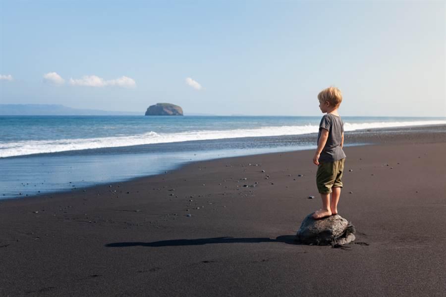 黑人男童在海邊擺姿勢,沒想到差點遭海鷗攻擊。(示意圖/ 取自達志影像)