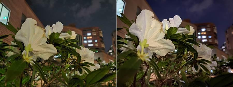 Galaxy Z Flip (左)與iPhone 11 Pro Max夜拍對比(第3組)。(黃慧雯攝)