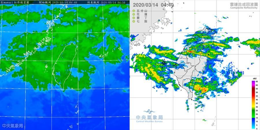 14日晨04:40紅外線衛星雲圖顯示,鋒面的中雲層仍籠罩全台(左圖);4:40雷達回波合成圖顯示,局部性降水回波不斷移入(右圖)。(圖擷自吳德榮專欄)