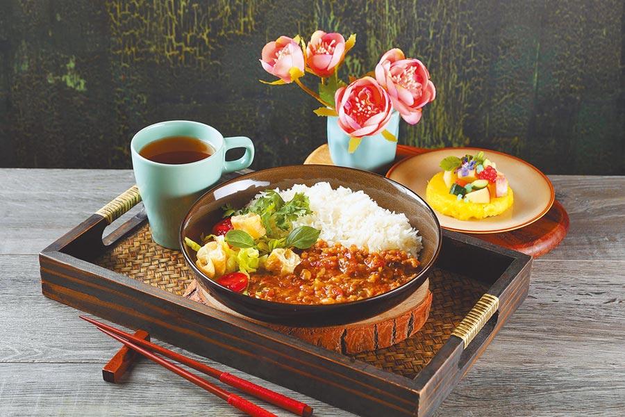 Asia 49亞洲料理及酒廊的商業午餐「泰式香辣打拋豬燴飯」。(Asia 49亞洲料理及酒廊提供)