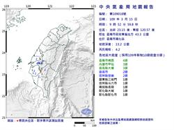 9:52台南南化區規模4.2地震 最大震度台南4級