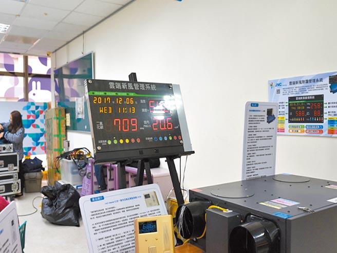 市內3座親子館安裝室內空氣品質自動監控設施,用來監測室內空氣品質。(邱立雅攝)
