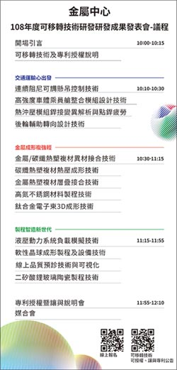 金屬中心 3/27高雄展覽館舉行 可移轉技術成果發表
