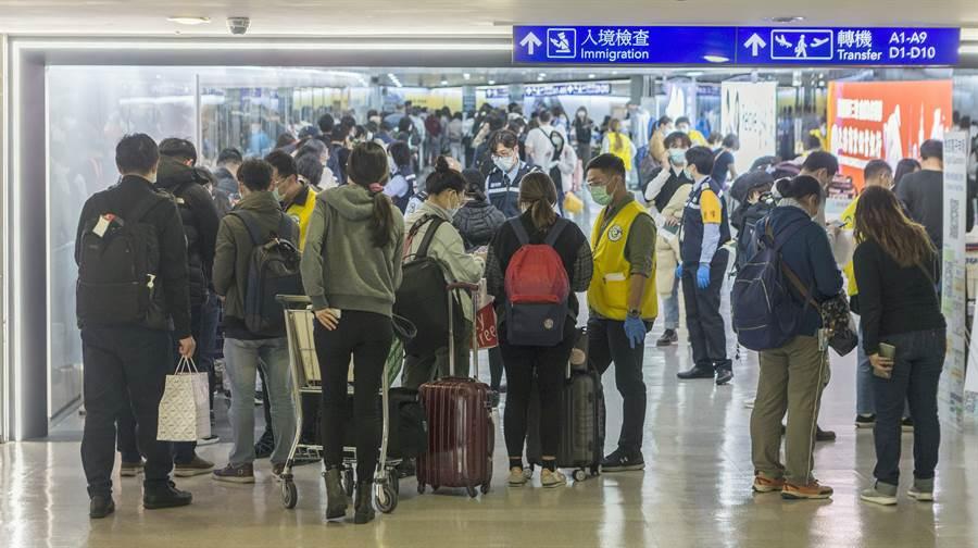 圖為桃園機場15日下午整個入境長廊排滿等候檢疫官審核居家檢疫書的旅客。(資料照片 陳麒全攝)
