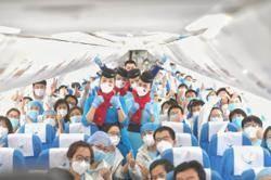 陸民航局協調第一批包機接運各地支援湖北醫療隊返程