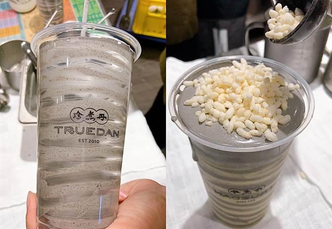「米香擂擂」以現磨擂茶鮮奶搭配香濃芝麻香緹、脆口米香,喝起來十分滑順。(圖/楊婕安攝)