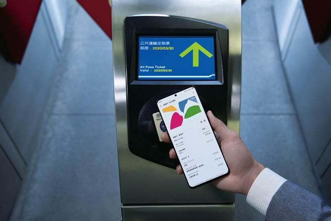 三星的Samsung Pay悠遊卡即日起正式開通,使用者就算不解鎖螢幕或開啟應用程式,都可隨「嗶」隨付。(三星提供)