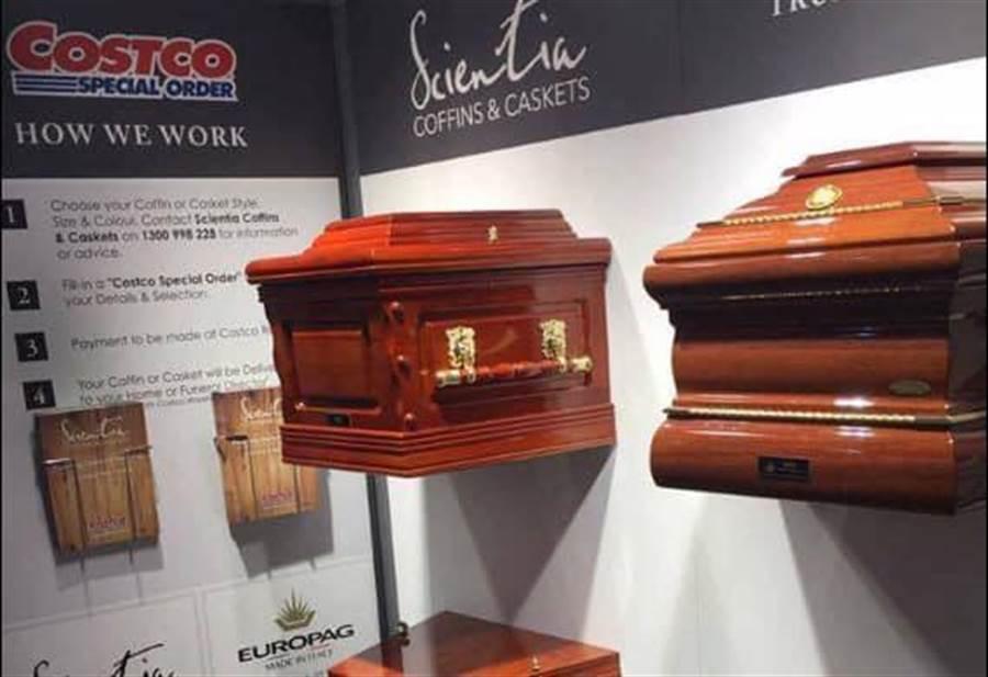 澳洲好市多也直接陳列棺材。(圖/翻攝自臉書社團《好市多商品經驗老實說》)
