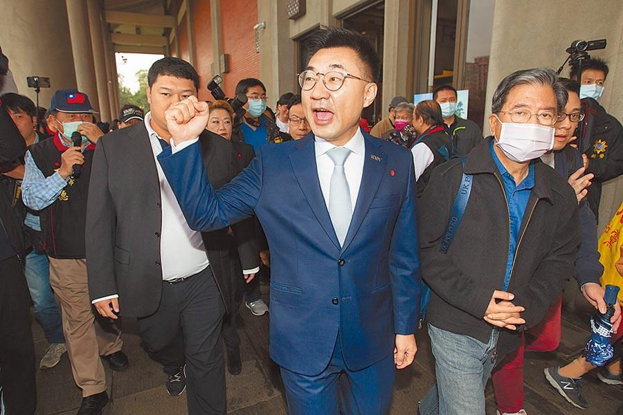 國民黨主席江啟臣(中)今將宣布首波人事。(本報資料照片)