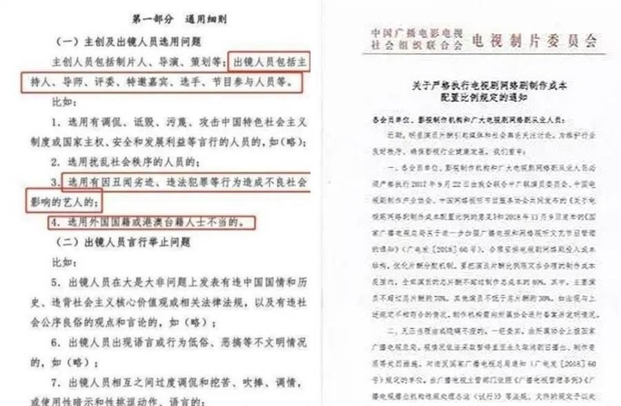 陸廣電局為網路綜藝制定新規,包含出演人員的國籍都有限制。(取材自微博)