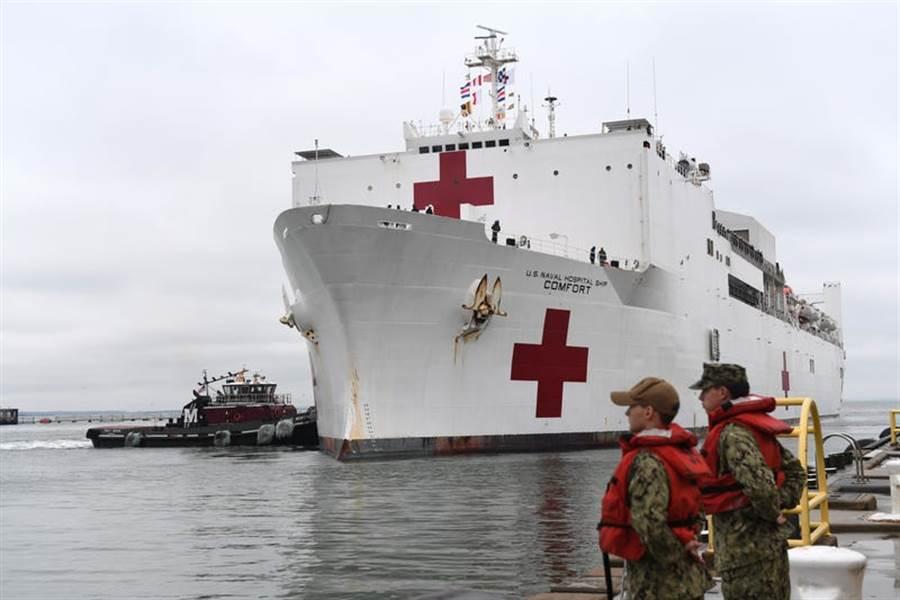 美軍醫療艦待命,隨時投入新冠肺炎的治療工作。(圖/美國海軍)