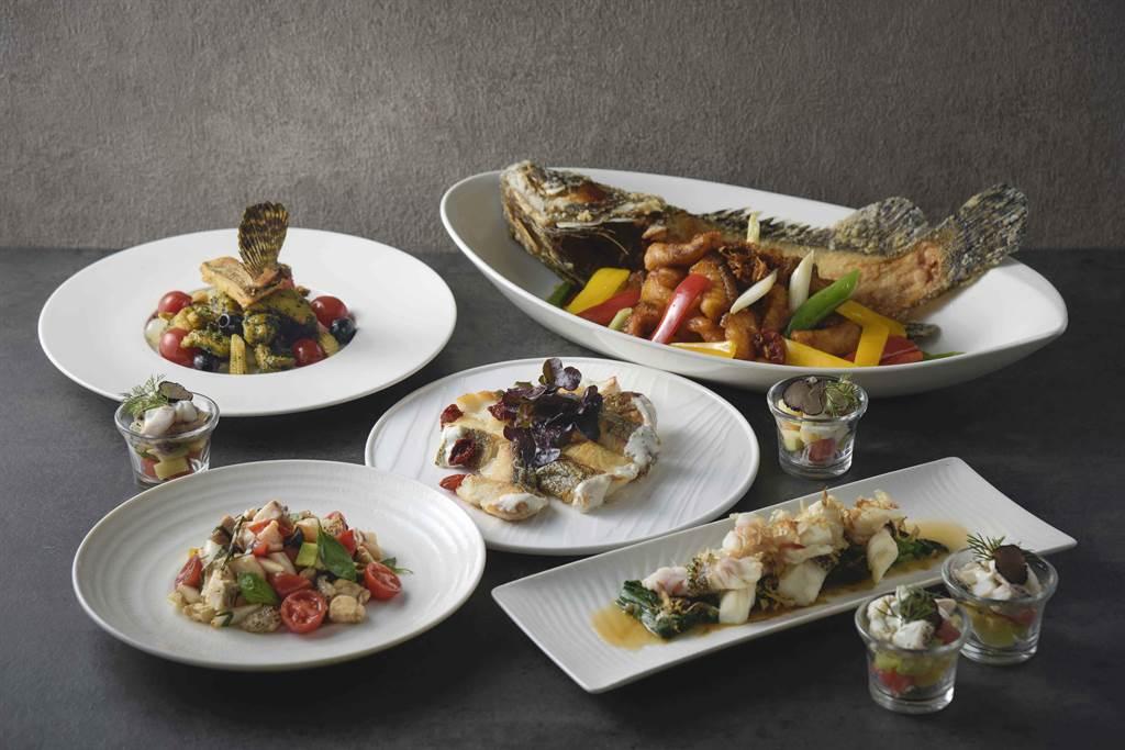 「頂級龍虎斑吃到飽」每位1280元+10%就能嘗遍15種龍虎斑美味。(高雄國賓大飯店提供)