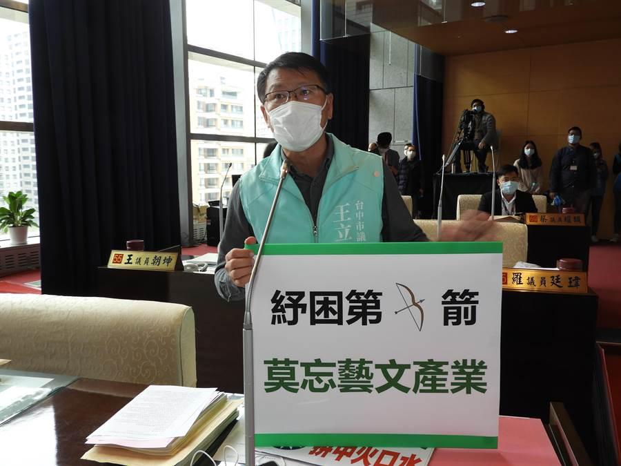 台中市議員王立任提出臨時動議為藝文產業爭取紓困補助,為這些被市政府遺忘的藝文團體發聲。(陳世宗攝)