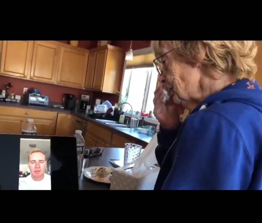 凱瑟琳看到阿隆索為她錄製的影片時,忍不住頻頻拭淚。(截自大都會推特/鄧心瑜傳真)