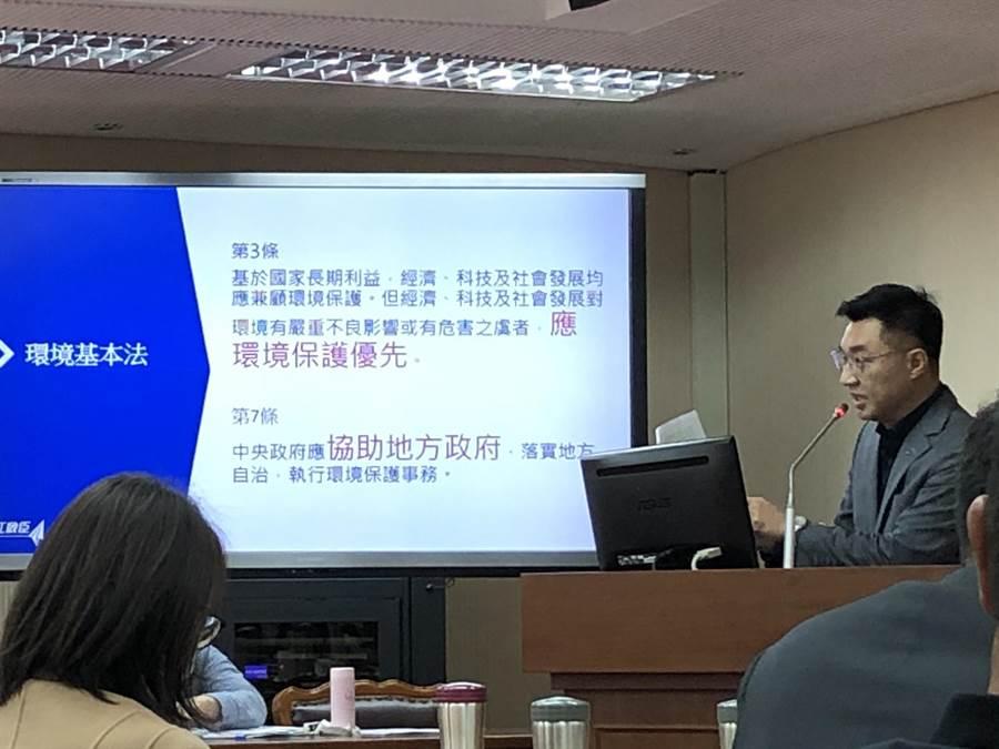 兼任兼任國民黨主席的藍委江啟臣今天質疑,政院宣告「台中市生煤管制自治條例」部分條文無效,形同選舉性辦案,且有昨是今非問題。(趙婉淳攝)