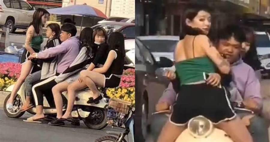 民眾在街頭目擊「1男載5女」的驚險景象。(圖/翻攝自微博)