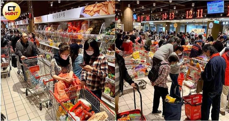 北市內湖大潤發19日爆出搶購潮。(圖/馬景平攝)