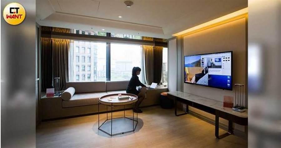 瀚寓酒店房型之一,客人退房後會使用紫外線等方式徹底消毒。(圖/黃威彬攝)