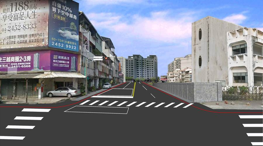 惠中路完工模擬圖。(台中市政府提供/陳世宗台中傳真)