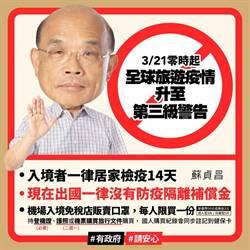蘇揆:現在出國 回國一律沒有防疫補償金