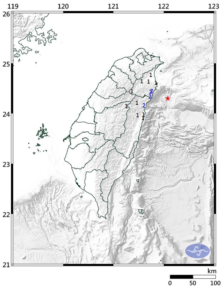 今午12:11:宜蘭海域發生規模4.6地震。(圖擷自氣象局)