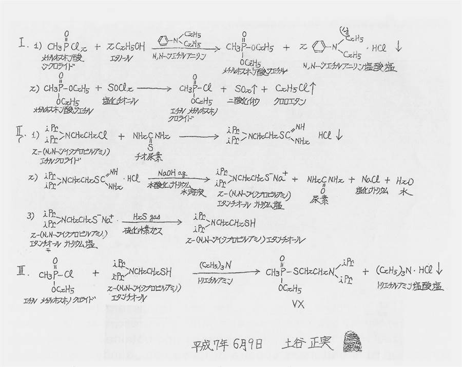 土谷正實在獄中親手抄寫他為真理教合成VX神經毒劑的程序步驟,並簽名、標明日期與按指印。(圖/玉山社出版 提供)