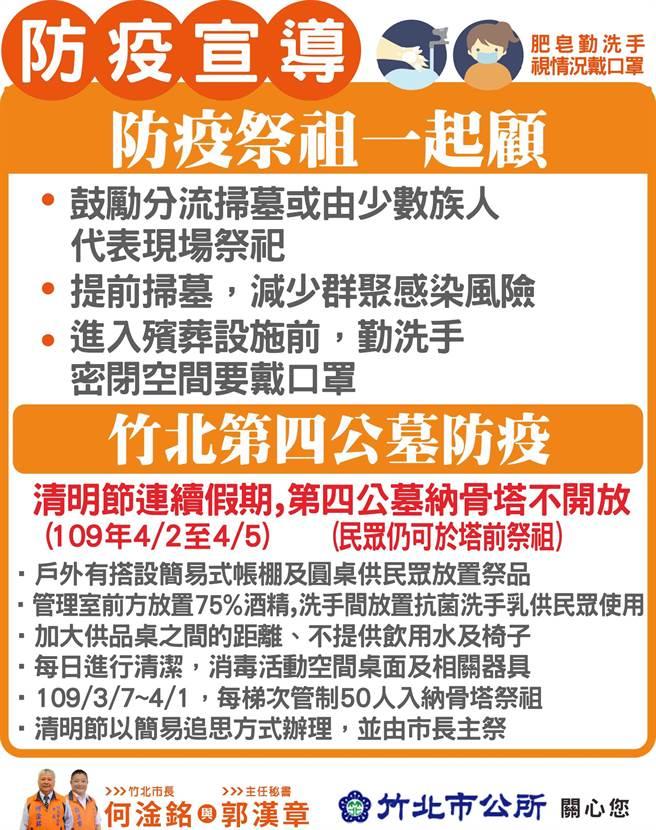 竹北市公所公告,清明節連假祭祖,第4公墓納骨塔將禁止入內。(竹北市公所提供/莊旻靜新竹傳真)