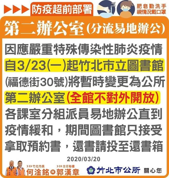 竹北市公所公告,位於福德街的竹北市立圖書館,將於23日起暫停開放,作為第二辦公室使用。(竹北市公所提供/莊旻靜新竹傳真)