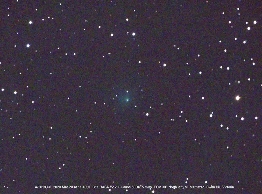 澳洲天文學家邁克爾·馬蒂亞佐(Michael Mattiazzo)在3月20日拍到的阿特拉斯彗星(圖/Southern Comets Homepage)