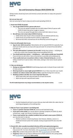 紐約市發布「抗疫性愛指南」 稱:你是自己最好的性伴侶
