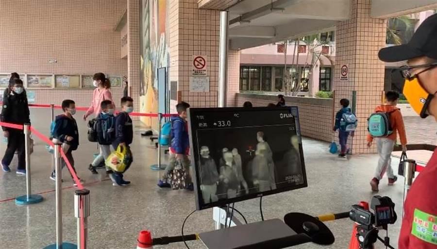 文華國小日前啟動第3波防疫措施,利用紅外線熱像測溫儀,快速篩檢學童體溫。(摘自文華國小粉絲團臉書)