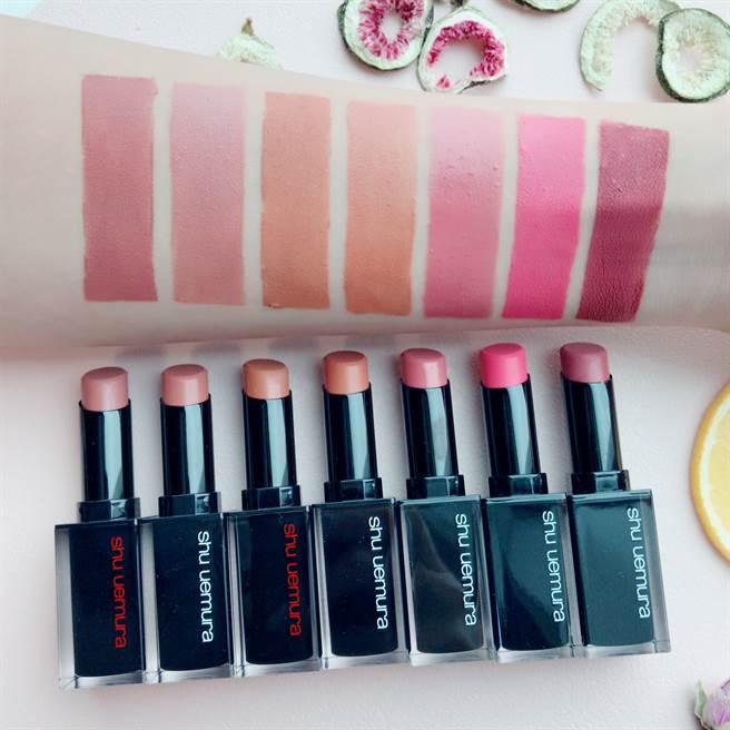 全新「花果系歐蕾唇」的7款色號。(圖/邱映慈攝影)