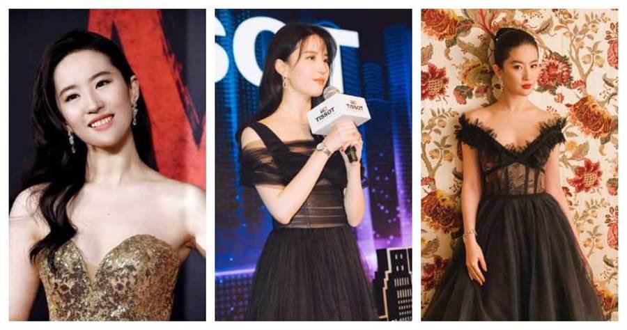 劉亦菲10日參加《花木蘭》美國全球首映會。(圖/翻攝自微博)