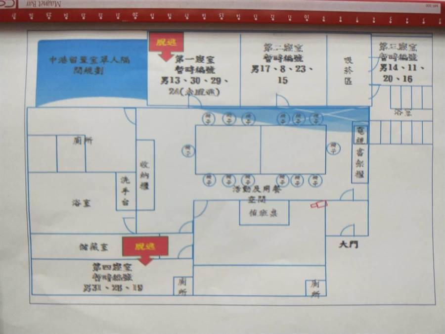 中港留置室的偷渡犯安置配置圖。(陳淑娥攝)