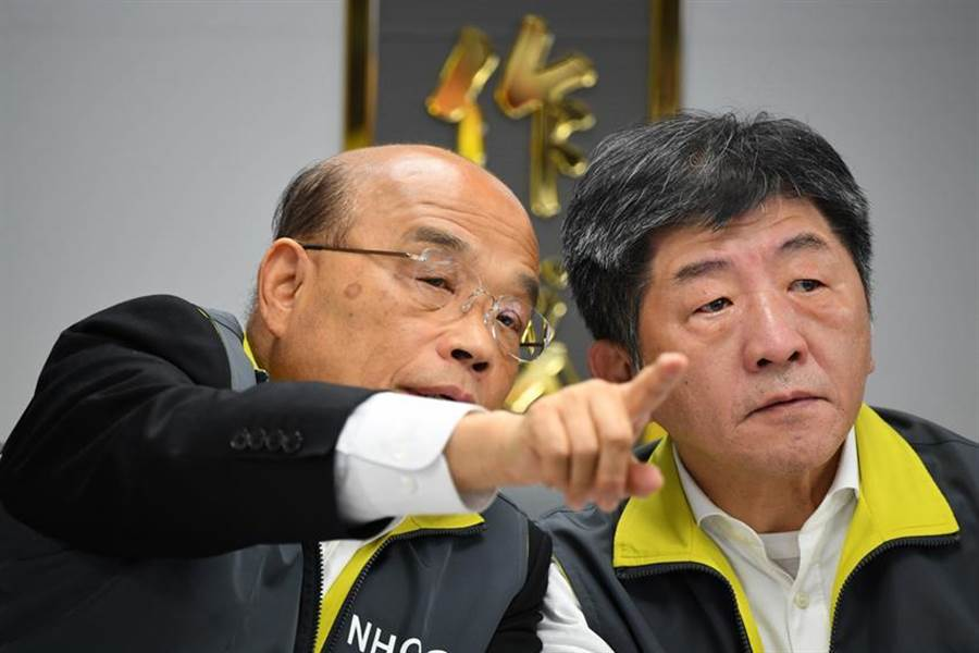 行政院長蘇貞昌(左)與指揮中心指揮官陳時中(右)(本報資料照)