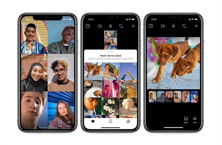Instagram 推出視訊通話專用的一起看功能,讓你在與朋友視訊時可分享最愛照片與影片。(摘自Instagram Blog)
