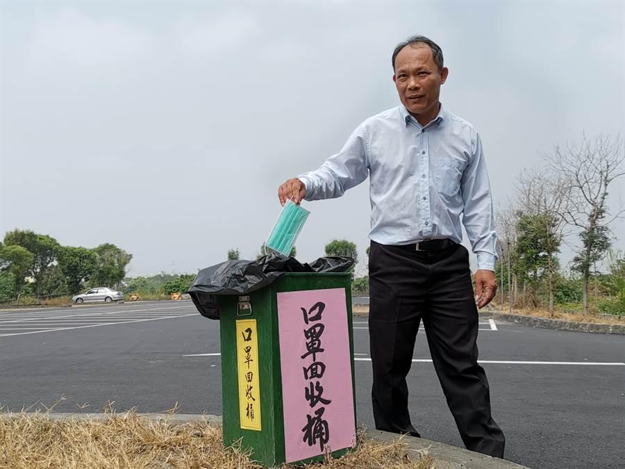 陳慶福說,早期清水岩附近步道其實有設置垃圾桶,但因為常有附近民眾,大包小包提著自家垃圾,公設的垃圾筒丟置,因此才將其收起。(吳建輝攝)