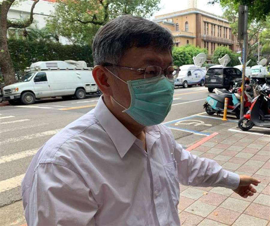 台北市長柯文哲今下午受訪表示,大巨蛋環差通過後還有很多事情要做,要復工沒那麼容易。(林縉明攝)