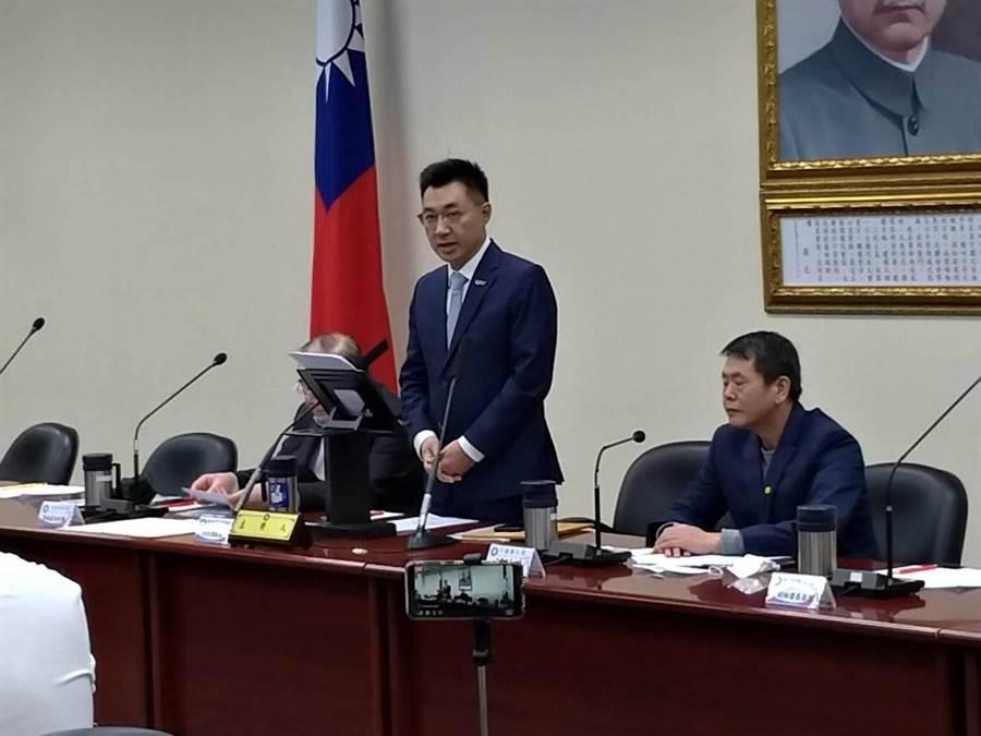 國民黨主席江啟臣今天在中常會開始時發表談話。(趙婉淳攝)