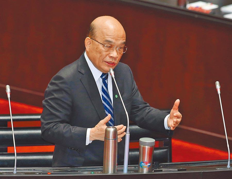 行政院長蘇貞昌24日在立法院答詢。(本報系記者姚志平攝)