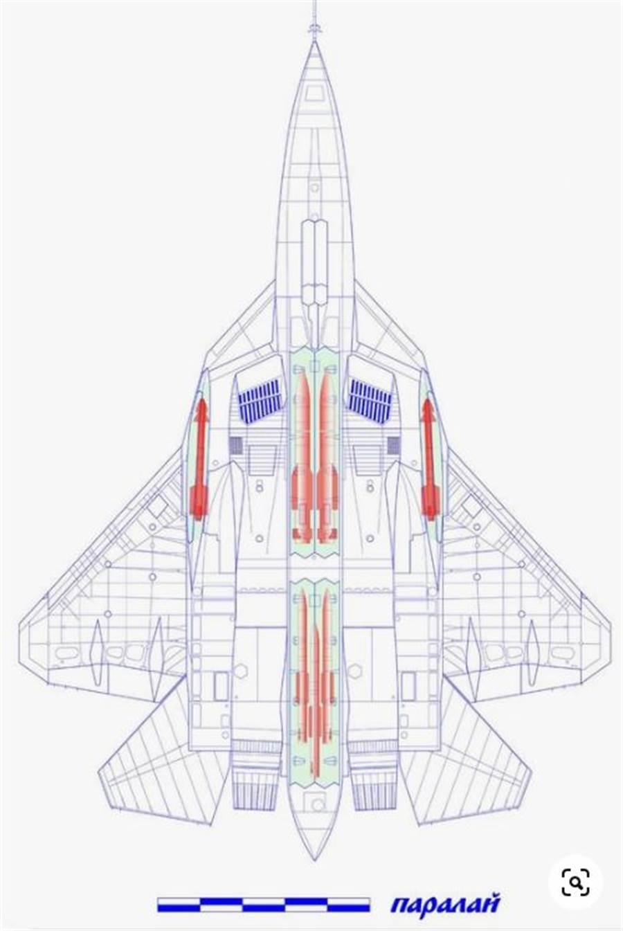 Su-57武器艙的可能配置。(圖/俄羅斯紅星模型)