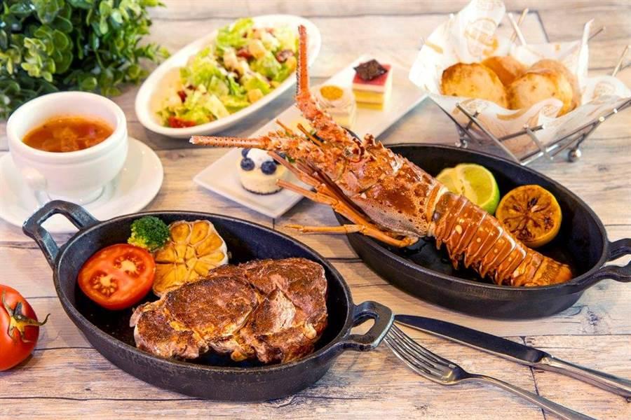 六福萬怡推「海陸主餐超殺方案」,吃和牛牛排送龍蝦。(六福提供)