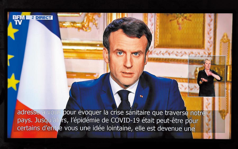 1月以來,習近平已與法國總統馬克洪3次通電話,圖為3月16日,馬克洪在巴黎總統府發表電視講話。(新華社)