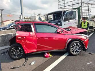 國道1號彰化北上2大6小車追撞 4人輕傷