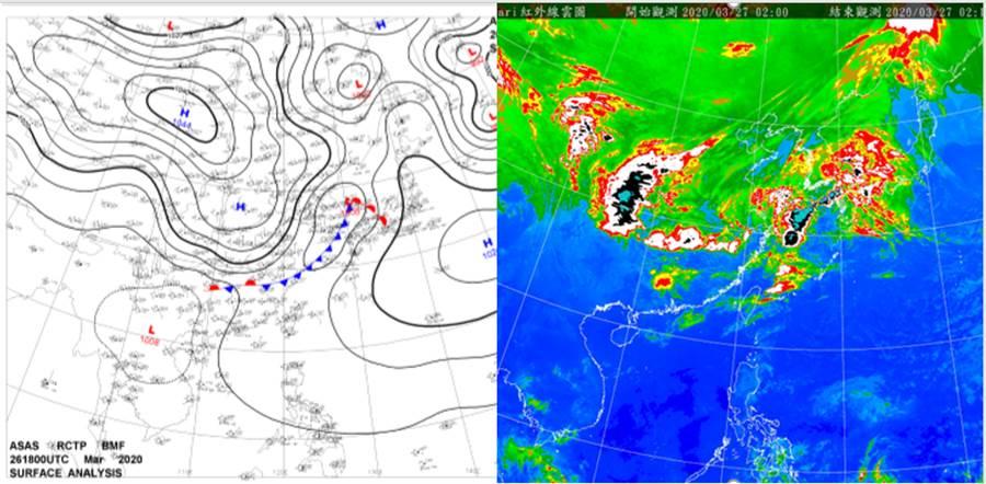 今(27日)晨2時地面分析圖(左圖)及紅外線衛星雲圖(右圖)顯示,鋒面在華中,離台灣有段距離。(圖擷自吳德榮專欄)
