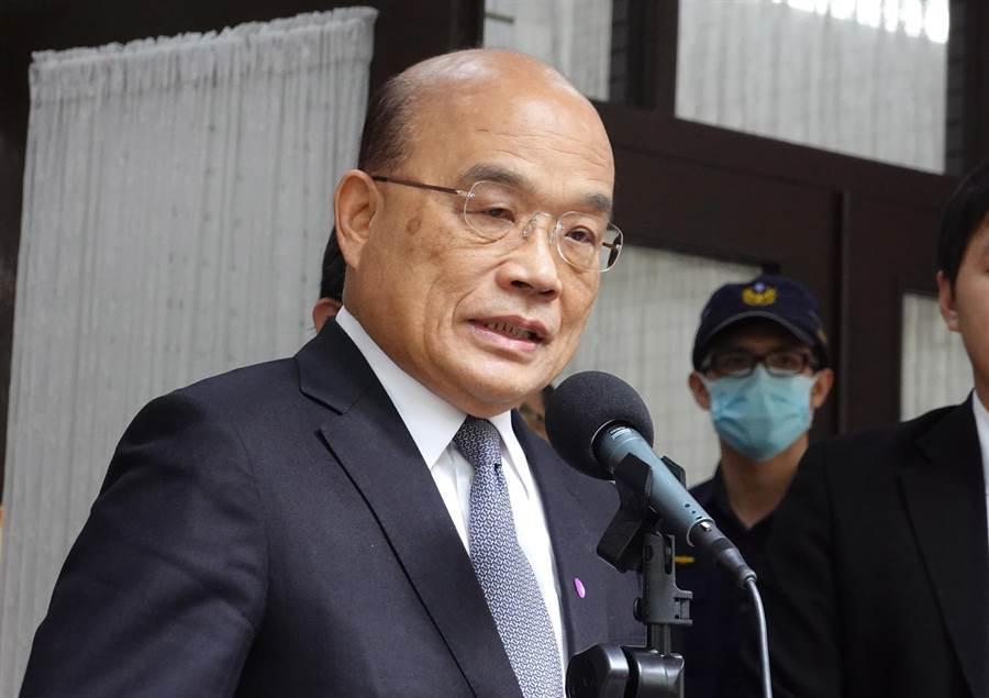 行政院長蘇貞昌27日赴立法院備詢前受訪。(姚志平攝)