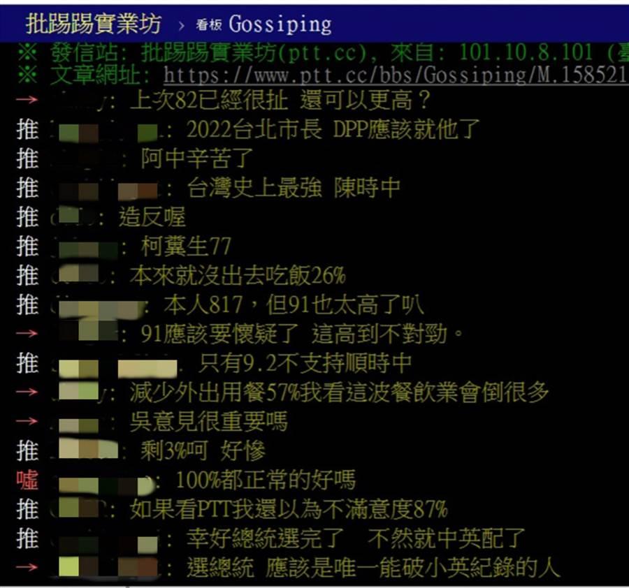 PTT八卦版有網友認為,「2022台北市長,DPP應該就他(陳時中)了。」(翻攝PTT八卦版)